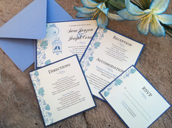 Blue Floral Bird Cage Pocketfold