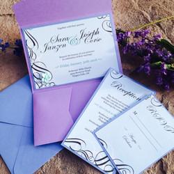 Blue and Purple Pocketfold Invite