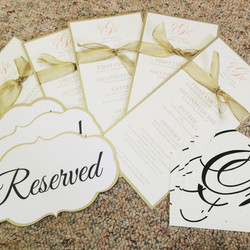 Gold reserved signs and menus