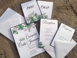 Modern Green Flower Invitations