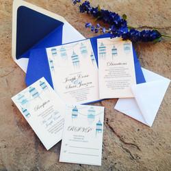 Blue Bird Cage Pocketfold Invites