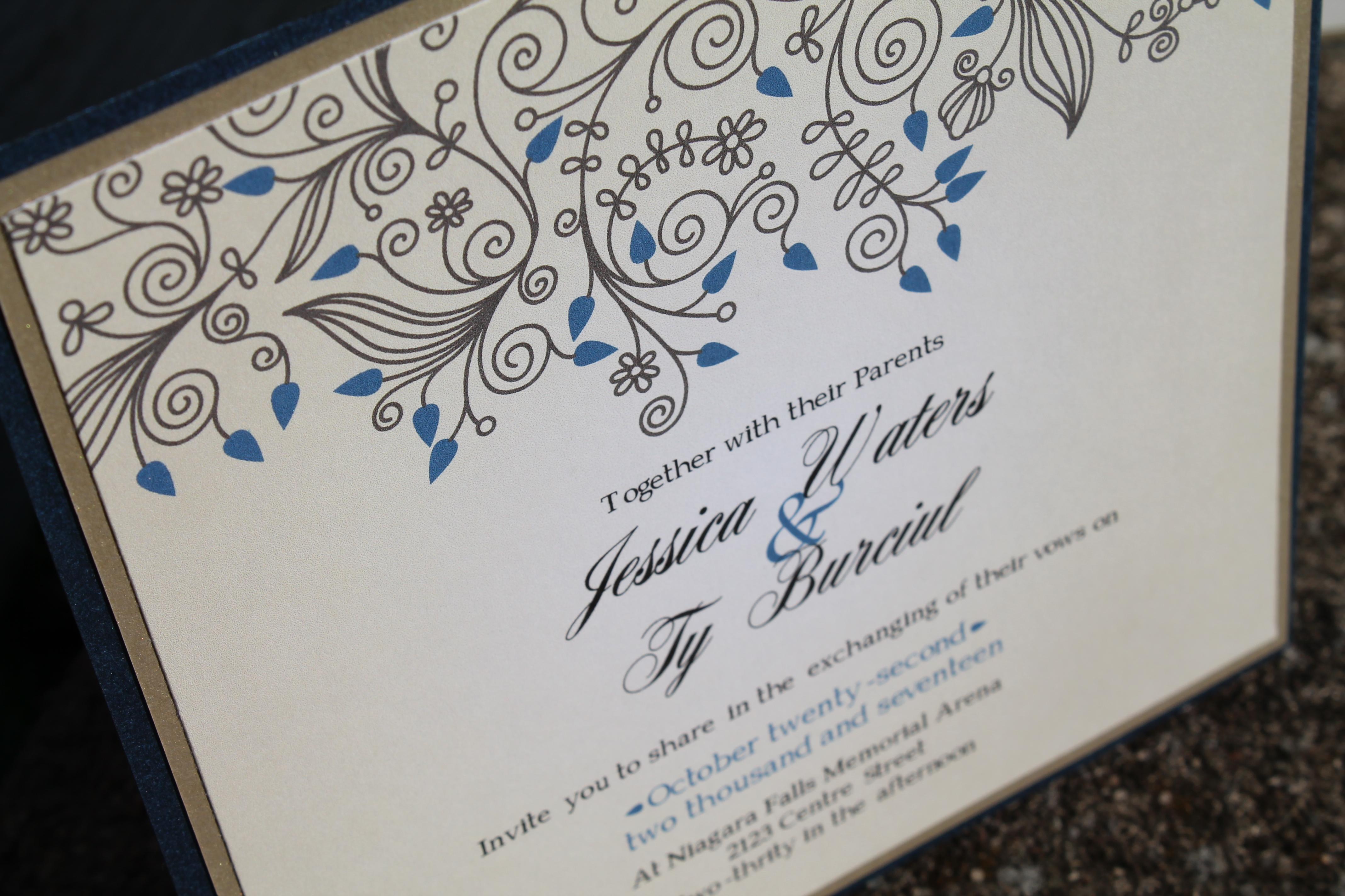 Gold & Sapphire Zig Zag Invitation