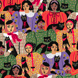 Cat_Ladies_Fashion_Illustration_Surface_Pattern