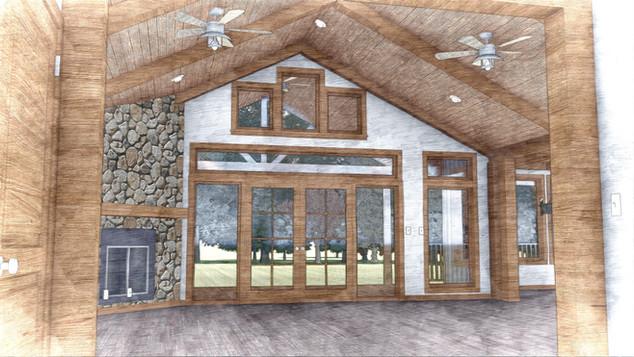 Interior of the cabin in Iowa.