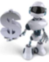 3D robot holding a dollar sign