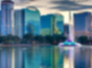 Orlando, FL skyline ove lake eola