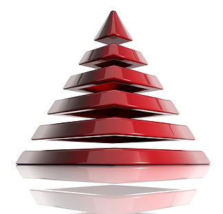 Red 3D pyramid showing each layer separately