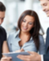 Business woman working with two men