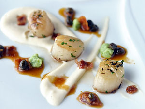 Beautifully plated fine dining scallops