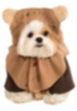Small dog wearing an ewok costume