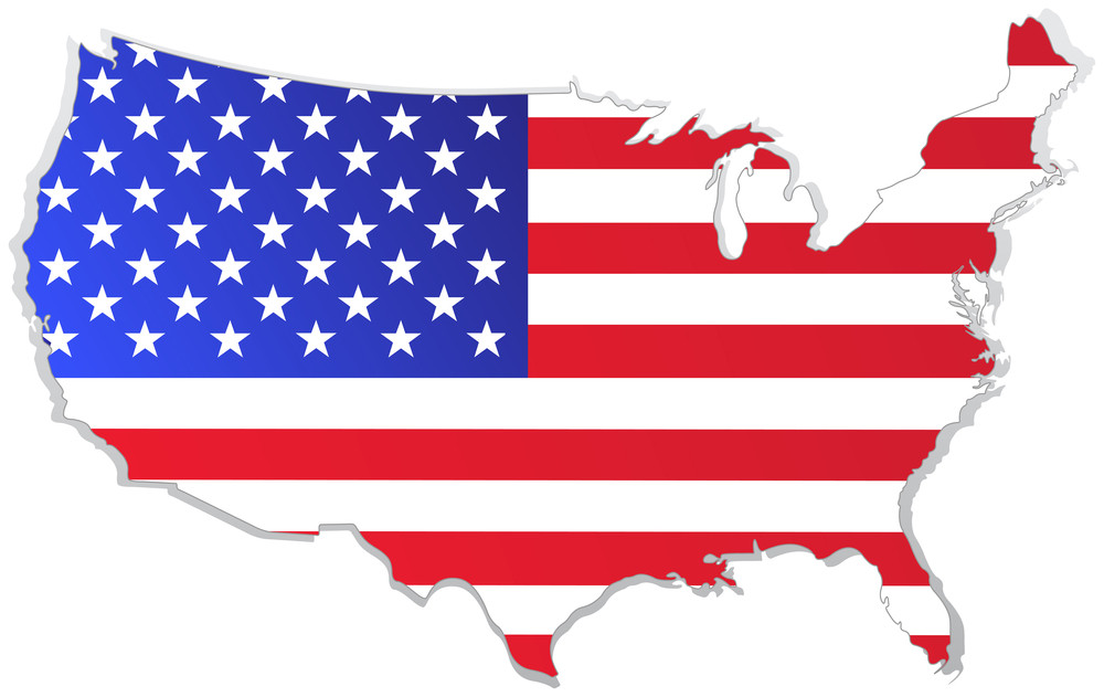 Map of the united states with USA flag