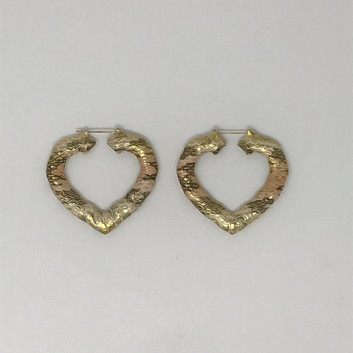 "2.5"" ROSE & YELLOW GOLD SNAKESKIN HEART BAMBOO EARRINGS"
