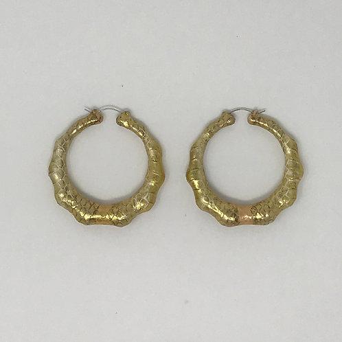 """2.5"""" ROSE & YELLOW GOLD SNAKESKIN BAMBOO EARRINGS"""