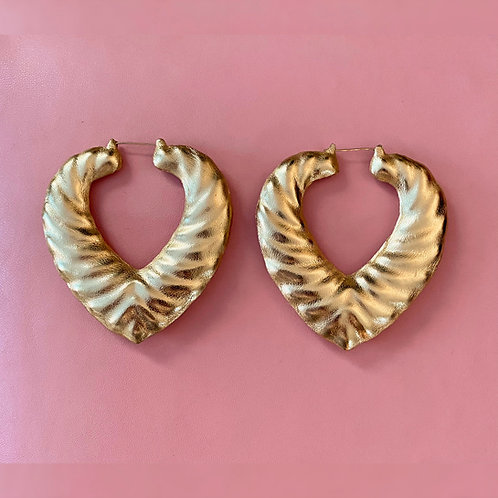'LIQUID GOLD' HEART BAMBOO EARRINGS