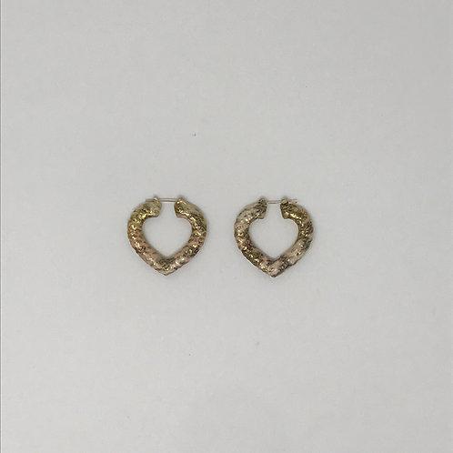 "1.75"" ROSE& YELLOW GOLD HEART BAMBOO EARRINGS"