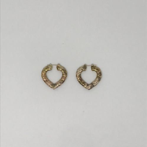 Rose Yellow Gold Genuine Snakeskin Heart Shaped Bamboo Earrings