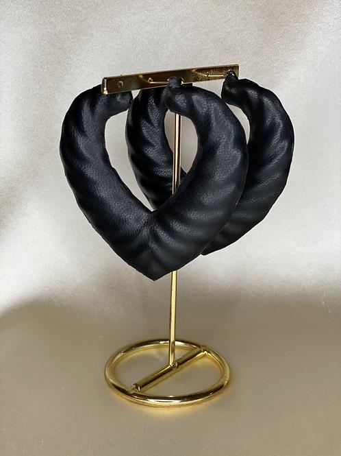 'BLACK LOVE' HEART BABMOO EARRINGS
