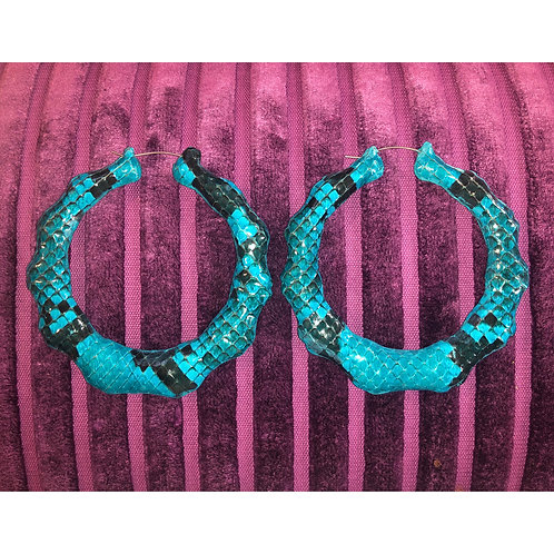 BRIGHT BLUE SNAKESKIN BAMBOO EARRINGS