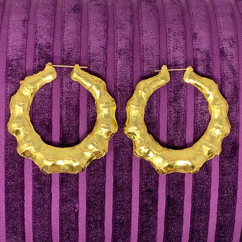 GOLD PYTHON THICK BAMBOO EARRINGS