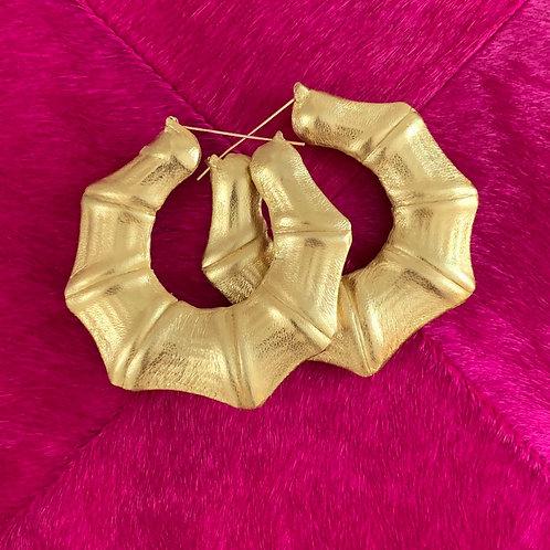 "3"" 'LIQUID GOLD' WRAP BAMBOO EARRINGS"