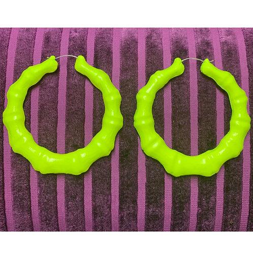 NEON YELLOW BAMBOO EARRINGS
