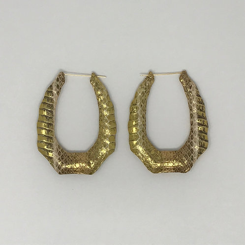 "3.25"" YELLOW & ROSE GOLD OBLONG BAMBOO EARRINGS"