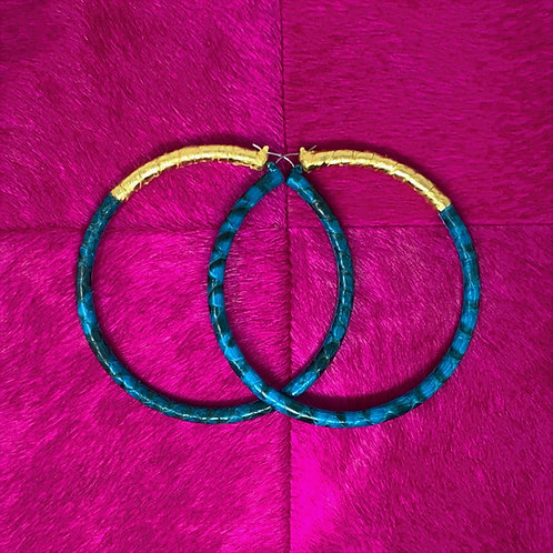 BRIGHT BLUE & GOLD PYTHON HOOPS