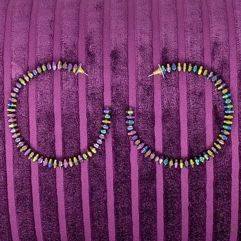 IRIDESCENT BEADED HOOP EARRINGS