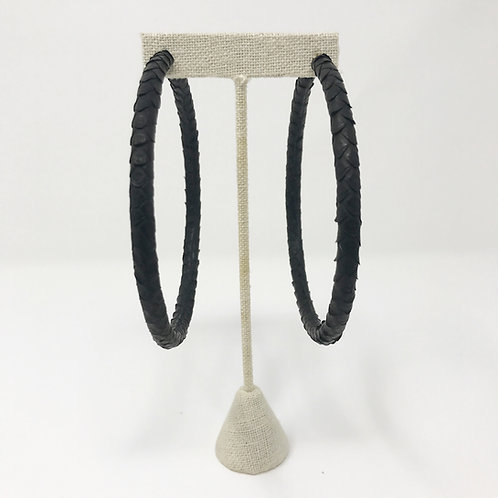 "4"" BLACK ULTRA LIGHTWEIGHT GENUINE PYTHON HOOPS"