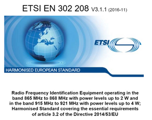 RED requirements for RAIN RFID systems operating at lower and upper ETSI frequency band