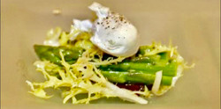 Charred Asparagus Frisee Salad with Poached Egg