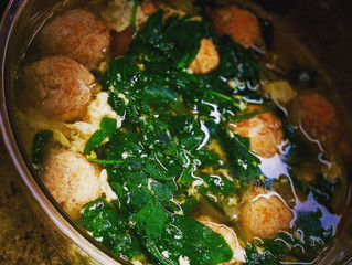 Light And Tasty Gluten Free Chicken Meatball Soup- with egg whites and spinach