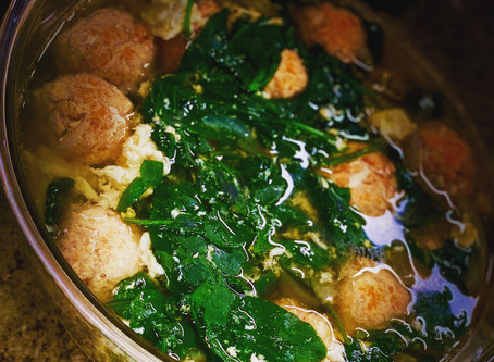 The Best Chicken Meatball Soup- with egg whites and spinach