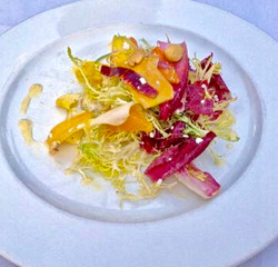 Shaved Golden Beets and Pineapple and Heirloom Tomato Salad with Chervil and Meyer Lemon Oil