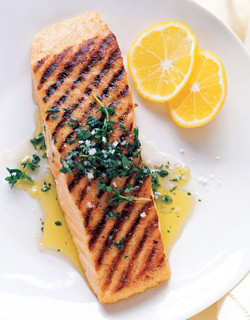 Grilled Wild King Salmon with lemon thyme and Meyer lemon oil