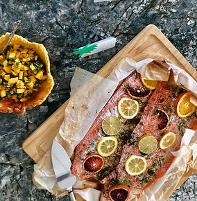 Plank Baked Salmon with citrus