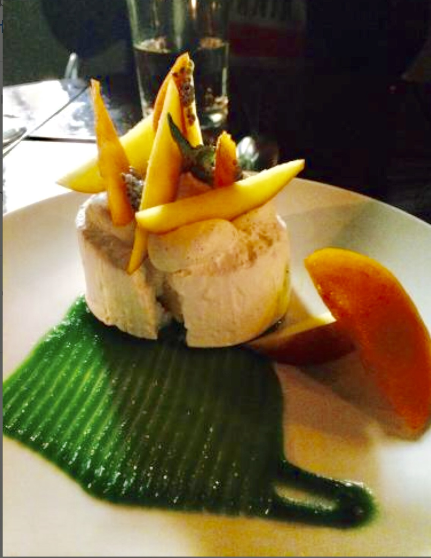 Passion Fruit Pavlova, Peaches, Kiwi Coulis