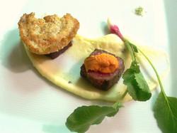 Elk with Uni, parsnip onion cauliflower glutem free biscuit