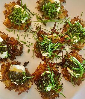 Caviar on Shredded potato galette with s