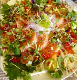 Salmon Salad, Daikon, Frisee squeezed Yuzu