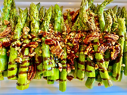 Asparagus Roasted with maple pecans and balsamic syrup