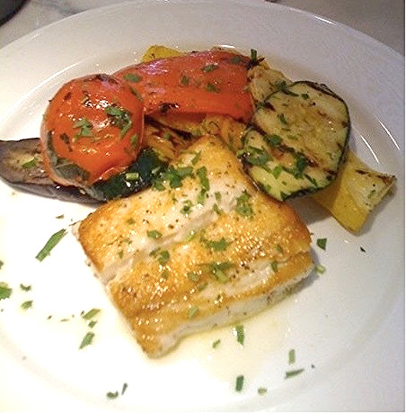 Halibut with chive butter, grilled vegetables