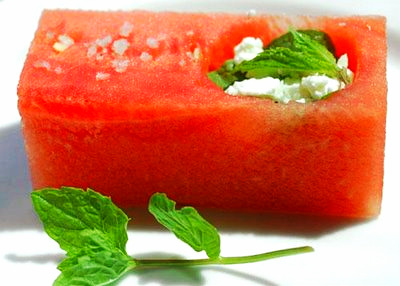 Watermelon with cheese