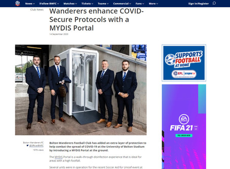 In The Press: Bolton Wanderers & MYDIS Sanitising Portal