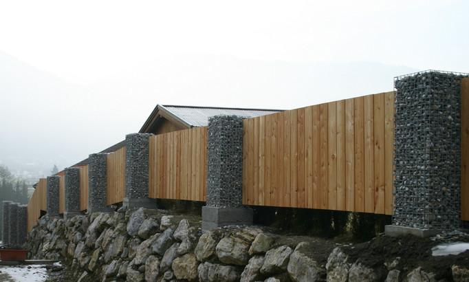 Zaun/Sichtschutz Kombination Holz/Stein