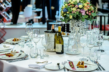 catering event with wine and glasses