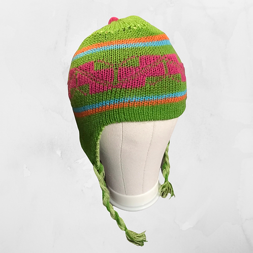 Kids Chullo - Bright Green Hat