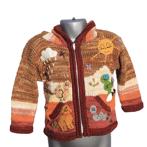 Children's Luxuriously Soft Cardigan - Mixed Brown