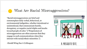 "Image of one slide from a presentation that reads ""What are racia microaggressions?"""