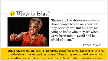 "A screenshot of the presentation titled ""What is bias?"""